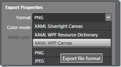 Change Export Format to XAML Canvas